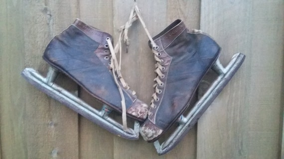 Vintage Ice Hockey Skates Antique Men Black Brown Leather Pennant Rustic Winter Door Decoration Holiday Distressed Wedding Valentine