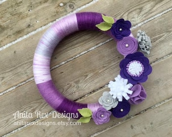Spring Wreath, Purple Lavender Wreath, Yarn Wreath, Stripe Wreath, Modern Wreath