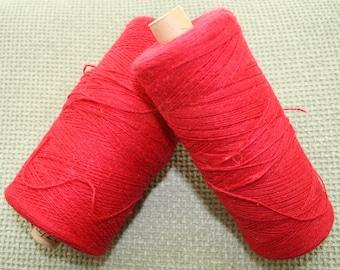 Swedish Cottolin, Weaving Yarn, Red, Coned Yarn