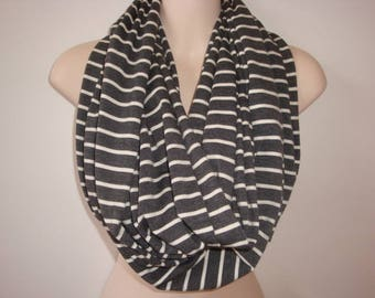 Gray and Cream Stripped Infinity Scarf - Extra Long