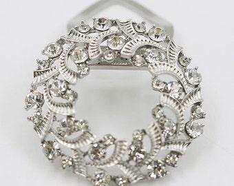 Women's Round Stylish Silver Ribbons Buckle Rhinestone Alloy Scarf Holder Clip