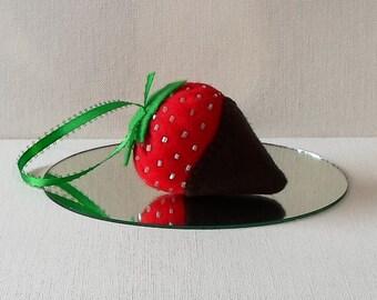 Handmade Felt Dark Chocolate Dipped Strawberry Ornament