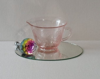 Vintage MacBeth Evans Pink Depression Glass Creamer with Dogwood Blossoms