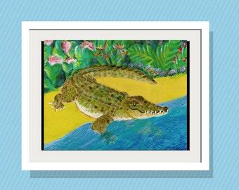 Kids Wall Art Jungle Crocodile - Art Print 10 x14 Limited Edition Original Acrylic Painting - Playroom Decor