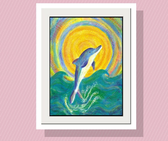 Kids Wall ART Dolphin Playing with the Sun Art Print 10 x 14 Limited Edition-Fun Wall Art Play Room Decor -Acrylic Painting -Beach Decor