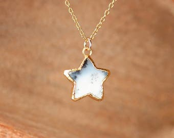 Dendrite opal necklace - gold star necklace - dendritic opal necklace - merlinite - star pendant - opal necklace - white star necklace