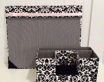 Desk Set Organizer, Desk Pad, Kid Desk, Pencil Holder, Pen Holder, Office Organizer, Desk Organizer, Woodland Decor, Black and White