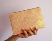 Light Pink Glitter Makeup Bag Salmon Pink Clutch Bag Pastel Pink Glitter Cosmetic Bag Pastel Glitter Makeup Bag