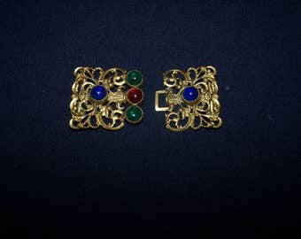 Superb vintage gold tone buckle with coloured stones.