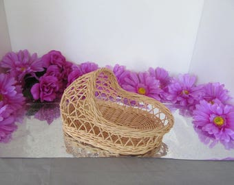 """Vintage 8"""" Wicker Cradle for Baby Shower Decoration or Small Doll Cradle"""