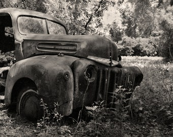 Rusty 1947 Ford F100 Pickup Truck, Black and White Photography, Black & White Photo, Crawfordville Florida - Limited Edition Photo Print