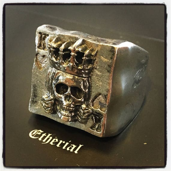 Sterling Silver Poker Ring Skull King of Hearts Ring Texas Holdem Skull Ring Poker Skull Ring King of Hearts Ring Skull King of Hearts King