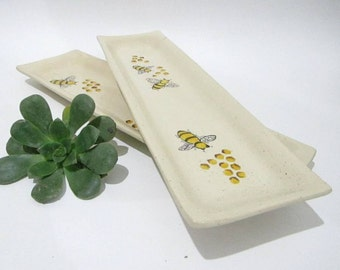 Ceramic Plate, Ceramic Serving Tray,  Rectangular Platter, Bee Plate, Serving Platter, Handmade Pottery