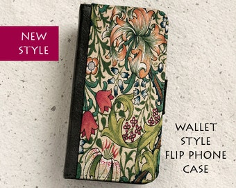 iPhone Case (all models) -  Golden Lily - William Morris - wallet flip case  -  Samsung Galaxy S4,S5,S6,S7Edge,S8,S8Plus & more