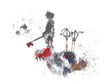 Kingdom Hearts, Sora ART PRINT illustration (2nd Edition) Gaming, Home Decor, Wall Art