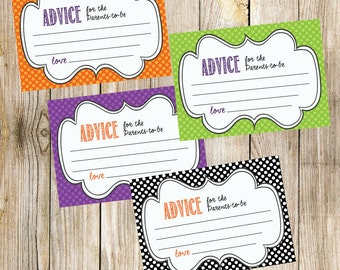 Baby Shower Advice Cards - Colorful Polka Dots