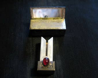 antique lipstick case with mirror, sterling silver lipstick case, refillable vintage