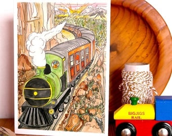 Clickety Clack , Hand Illustrated A6 Card, Greetings card, illustrated card, train card, steam train, adventure card, mountain train card