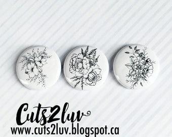 "3 badges 1 ""flowers handmade Valérie"