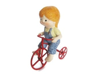 Vintage Enesco Country Cousins Farm Girl Riding metal Bicycle  porcelain Figurine Farm Tomboy Figure Bike Red