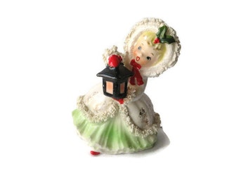 Vintage Christmas Napco Girl Shopper Porcelain Figurine Ornament Decoration Japan Spaghetti Trim