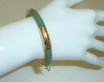 Vintage Chinese Nephrite Jade Bangle Gold Filled Hinge Bracelet Art Deco Asian Import Cuff Green Natural Stone