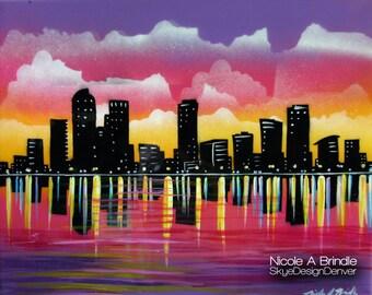 "Denver Skyline - Fantasy Art 16"" x 20"" Mixed Media on Canvas"