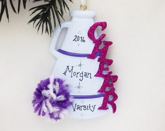 FREE SHIPPING Cheerleader Christmas Ornament / Cheerleading Ornament with Purple Pom Pom and Megaphone  / Cheer Team Ornament