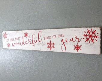 IN STOCK Ready to Ship Wooden Christmas Sign, It's the Most Wonderful Time of the Year, Christmas Decor, Snowflake Sign, Rustic Christmas