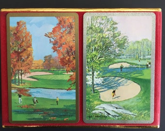 Vintage Congress Playing Cards- Two Decks- Sealed Cards -Never Used- Golf Course Scenery