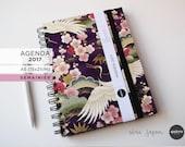 Agenda 2017 - A5 - Japonais Grue Violet - 15x21cm