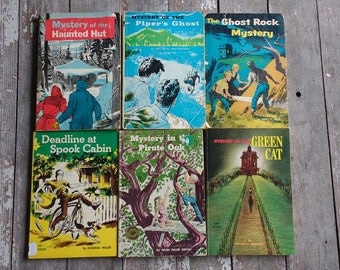 6 mystery books from Scholastic Book Services for children - illustrated chapter books - vintage paperback books - ships free in U.S. only