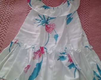 "NEW ITEM! Vintage real ""Hawaiian"" baby dress, ruffled ""mu-mu"". Real Hawaiian fabric in cotton. Size about 18 months."