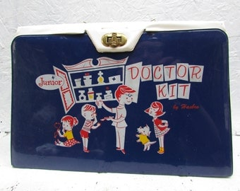 VINTAGE Junior Doctor Kit with 22 Play Pieces. 2 Sided Medical Kit. 1960s from Hassenfeld Bros. Inc (Hasbro) Central Falls RI
