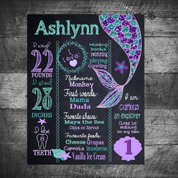 mermaid birthday sign mermaid birthday board mermaid chalkboard