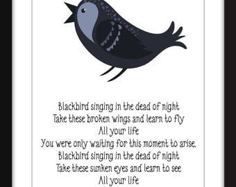 The Beatles Blackbird Lyrics Print Perfect for Child's Bedroom