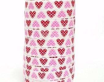 "Heart Elastic, Pink Red Heart FOE, Quatrefoil Print Heart, 5/8"" Fold Over Elastic, DIY Headband Supplies Valentines"