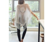 Kimono, crochet medallion tassel, Beach cover up, Cotton Kimono, Bohemian, Summer boho jacket,beach dress, white kimono