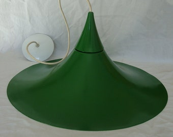 Vintage Large Green Metal Pendant / Ceiling / Hanging Lamp with White Ceiling Canopy - 2 Parts - Trumpet Shape