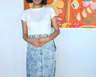 1980's/90's Acid Wash Denim Pencil Skirt