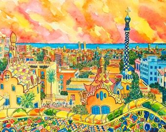 Barcelona Painting: Parc Güell, Barcelona, Spain