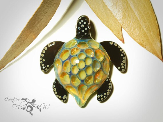Glass Pendant - Sacred Mountain Turtle Pendant - Turtle Pendant - Glass Jewelry - Hand Blown Glass Necklace - Made with 24 Karat Gold