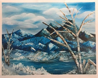 Winter at the Lake Original Oil Painting on stretched canvas