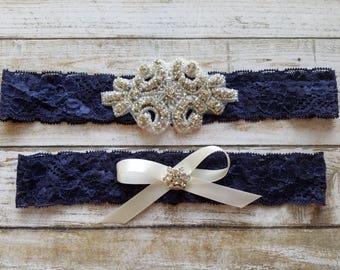 SALE -Shop Best Seller Wedding Garter Set- Crystal Rhinestone on a Navy Blue Lace-Style G2047NV