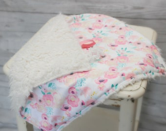 Floral Baby Blanket - Watercolor Baby Blanket - Pink Baby Blanket - Tag Baby Blanket - Baby Gift - Tag Lovey - Baby Girl Lovey - Pink Lovey