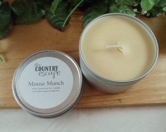 8 oz Moose Munch Soy Candle in Metal Tin - A Great Holiday Fragrance- Strong Scent Throw