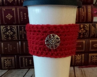 Handmade Crochet Red Coffee Cozy with Antique Silver Button, Tea Cozy, Cup Cozy, Cup Cozies
