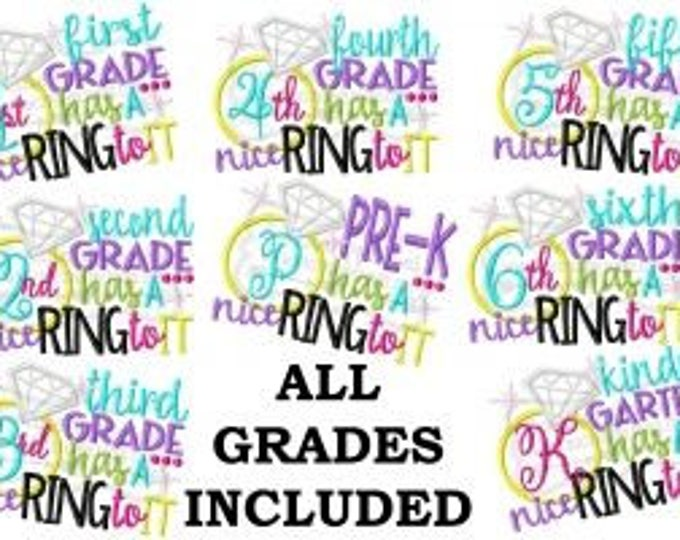 Diamond Ring Grade Embroidered Girls Shirt - First Day of Preschool  - Back to School -Kindergarten -1st 2nd 3rd 4th 5th 6th Grade