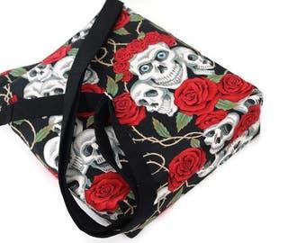 Skulls and roses large sling bag, cross body shoulder purse. iPad tablet bag. Gift for her. Gothic style gift. Vegan.