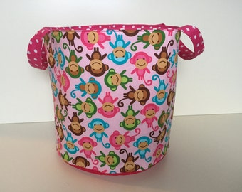 Toy or Laundry Bin 'Monkey Party' rose-pink